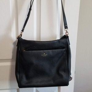 Kate Spade Black Leather Shoulder Bag Zipper Tote